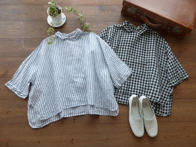 商品「jujudhau(ズーズーダウ) 小さな衿のリネンシャツ ストライプ&ギンガム」の商品画像