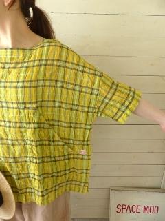 商品「快晴堂(かいせいどう) ゆらぎチェック BIGポケTシャツ」の商品画像