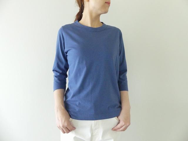 天竺7分袖Tシャツ (3)ブルー