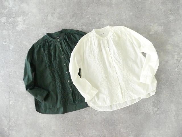 60/ローン広巾刺繍バンドカラーギャザーシャツ