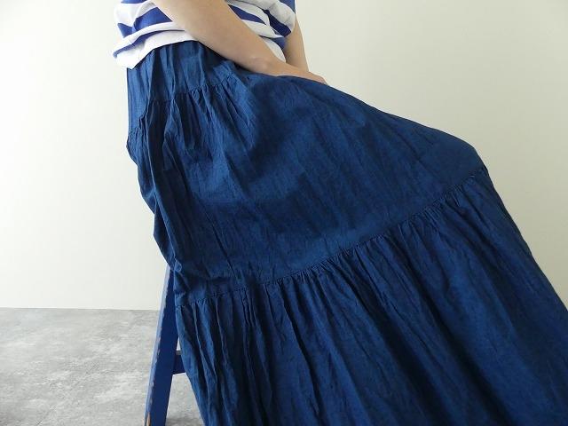インディゴシャンブレーティアードスカートの商品画像9