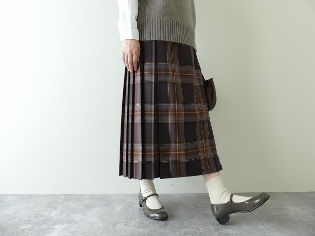 ウールタータンチェックウールキルトスカート