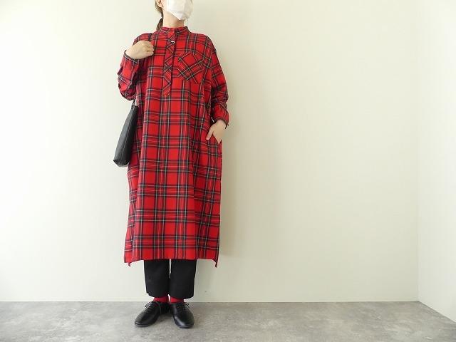 Charlotte Wool タータンスタンドカラーシャツドレス