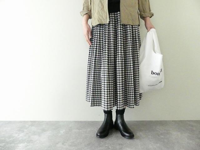 ギンガムのゴムプリーツスカート