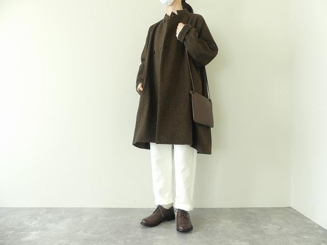 イベリコウールへリンボンツイードスタンドカラーコートの商品画像1