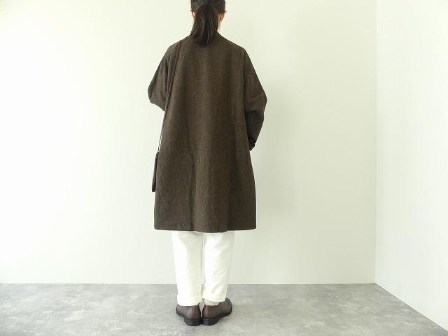 イベリコウールへリンボンツイードスタンドカラーコートの商品画像4