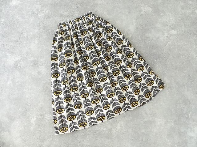 夏みかんプリント ギャザースカート