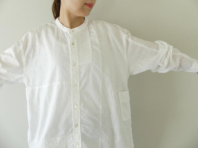 綿×リネンパッチワークバンドカラーカトマンズシャツ