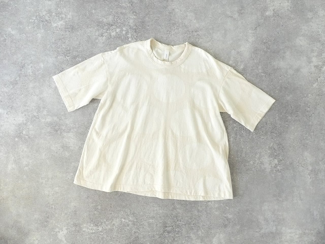 リサイクルコットン水玉プリント5分袖フレアーTシャツ