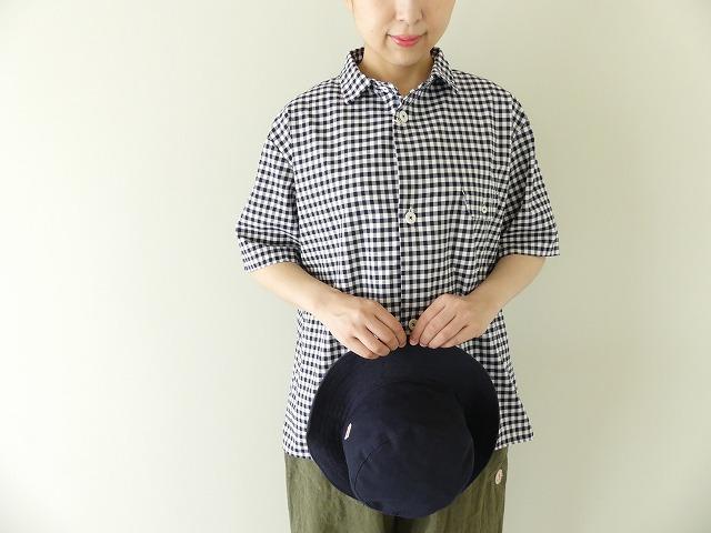 ステッチなし半袖ギンガムシャツ