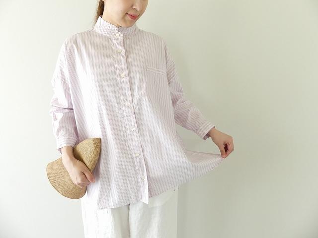 ブロード広巾ストライプダブルスタンドカラーシャツ