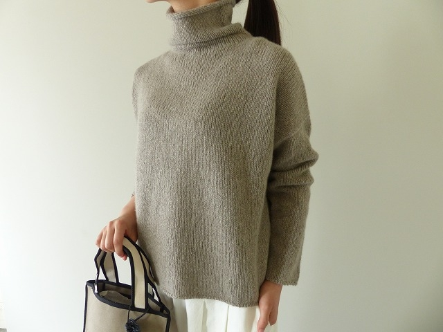 evam eva(エヴァムエヴァ) cashmere sable tweed turtle neck(E193K070)(2)