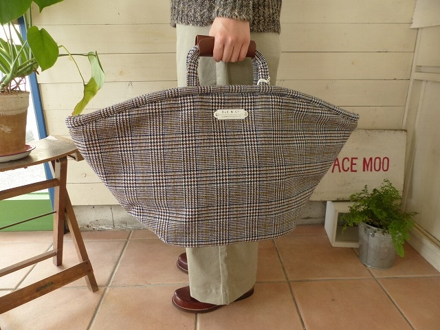 R&D.M(オールドマンズテーラー) WOOL GLEN CHECK MARCHE BAG Large(OLD3353)