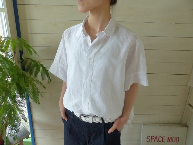 TOUJOURS(トゥジュー) LINEN COTTON CHAMBRAY CLOTH Short Sleeve Wide Shirt(TM26TS01)
